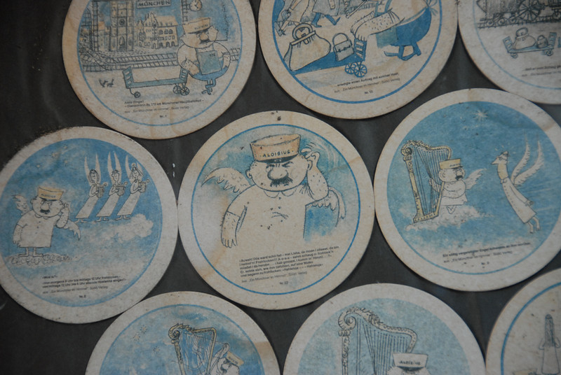 Nazi drink coasters on wall at former Nazi restaurant in Asuncion, a city once a haven for Nazis. We chose the restaurant for their weiner schnitzel which was very good.