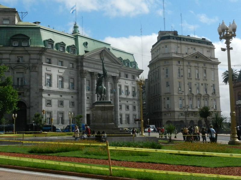 Impressive buildings surround Plaza de mayo