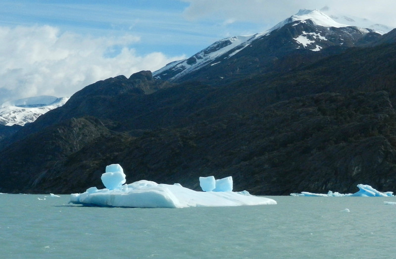 The ice bergs, carved from the glaciers, had some odd shapes.