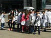 School group outside Teatro Solis. i saw a lot of these groups, always with the children in uniform or wearing protective jackets.