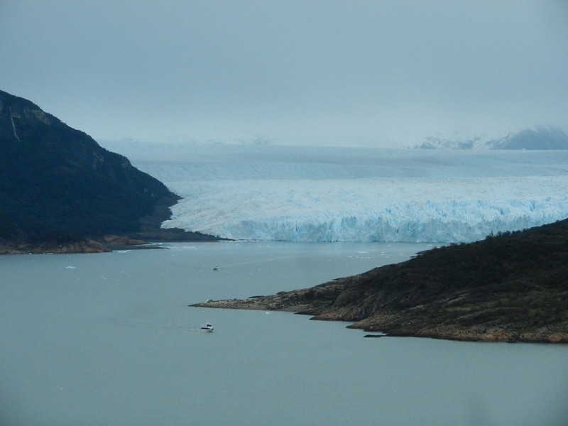 First sight of the glacier - note the boat