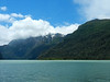 The water looked much more inviting when the sun came out. On boat number two we crossed Lago Frias.