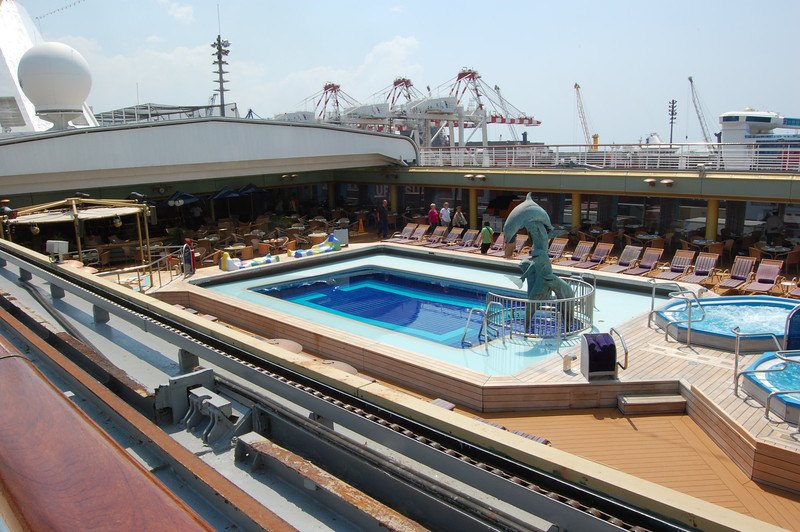 Jan. 2013, Buenos Aires -- Veendam Lido Pool on Lido Deck Center -- Hot Tubs at Right