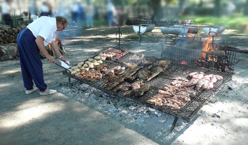 preparing for the asado