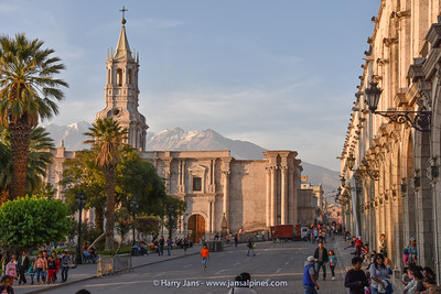 the cathedral at Plaza de Armas, Arequipa (Volcan Chachani)