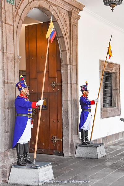 guards at Palacio de Carondelet, Quito