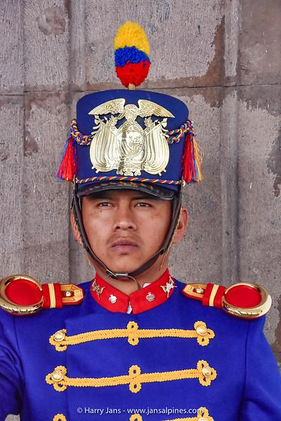 guard at Palacio de Carondelet, Quito