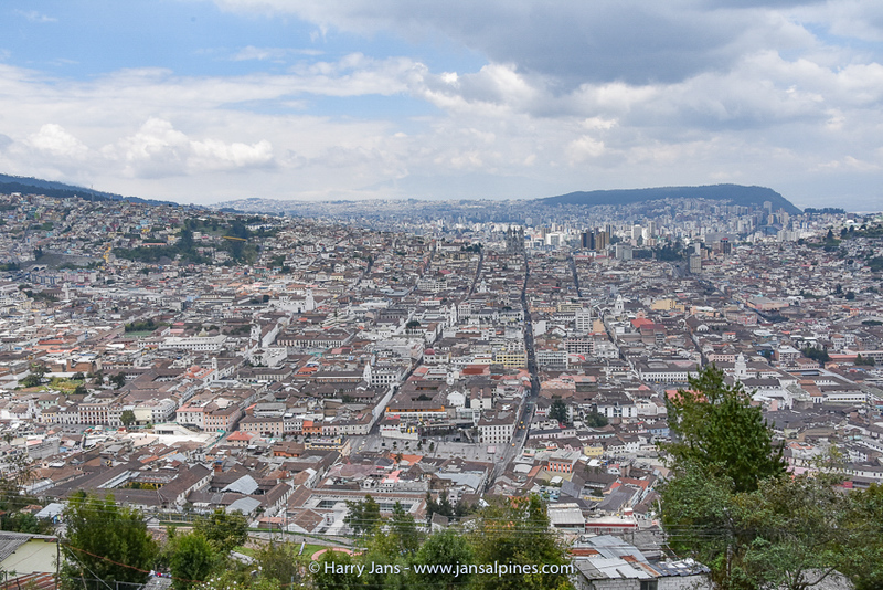 part of Quito seen from El Panecillo with Basílica del Voto Nacional