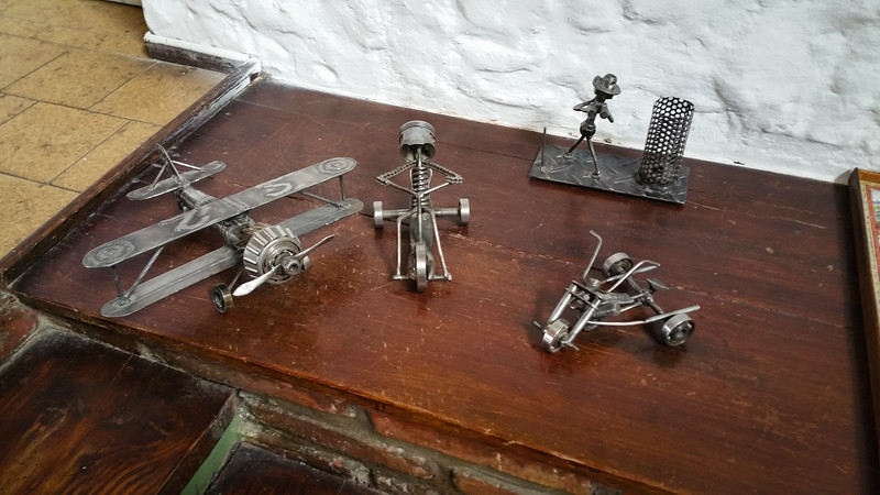 Miniature sculptures at the hostel in El Calafate