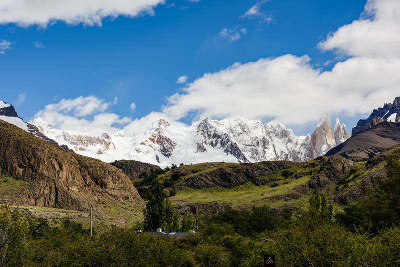 Cerro Torre is the spike of rock in the middle-right whose summit is obscured by cloud