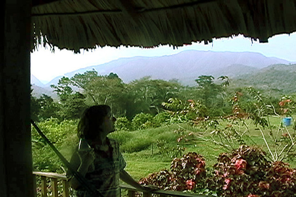 Celia looking outover the jungle & mountains
