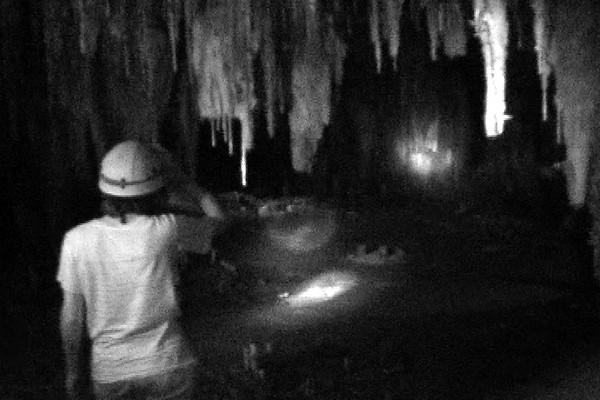 Celia checking out stalacmites