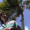 Celia under palm tree