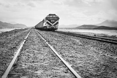 Train from Peru heading across the Alto Plano in Bolivia.