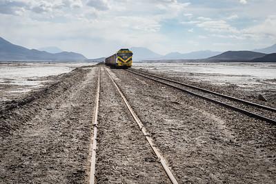 Train rumbling across the Alto Plano