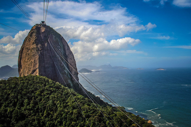 A view of the Sugarloaf, riding the cable car to the top.