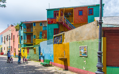 Colorful tenaments in La Boca barrio