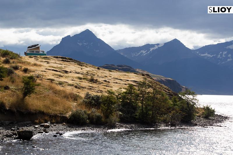Dirty hippies in a van down by the Lago Sophia near Puerto Natales in Chilean Patagonia.