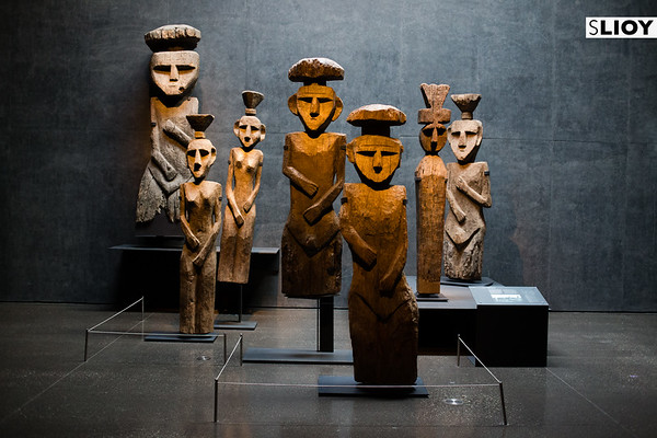 Statues inside the Museum of Precolombian Art in Santiago, Chile.