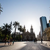 Wide-angle view of the Plaza del Armas and Santiago Metropolitan Cathedral in Chile.