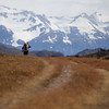 Hiker entering Torres del Paine National Park along the Q route from Park Administration.