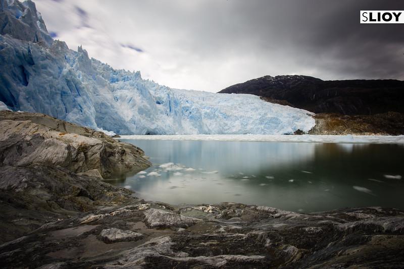Long-exposure view of the El Brujo Glacier in Chilean Patagonia's Bernardo O'Higgins National Park.