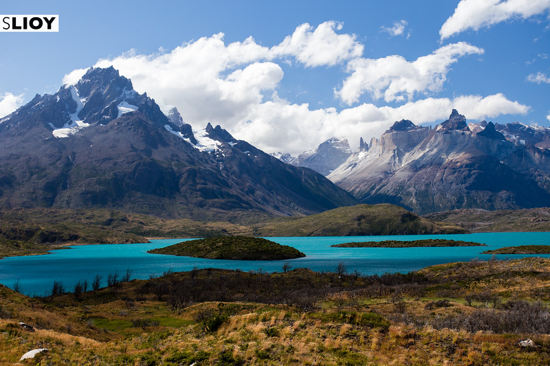 View over Lago Pehoe and the Cuernos in Chilean Patagonia's Torres del Paine National Park.