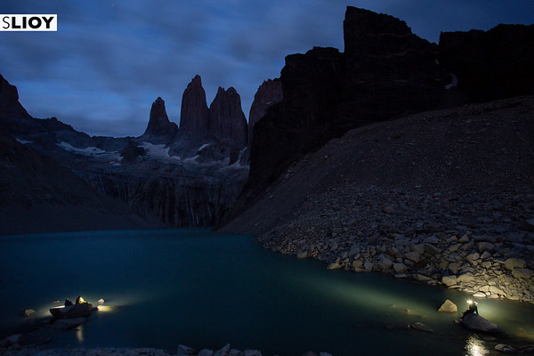 Cloudy dawn over the Torres del Paine in Chilean Patagonia.
