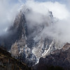 Clouds cover a mountain near Refugio Grey on the Torres del Paine circuit trek in Chilean Patagonia.