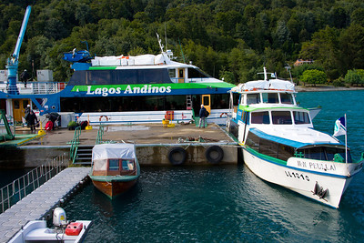Lakeshore dock and ferry for trip to Peulla on Lake Todos Los Santos, Patagonia, Chile