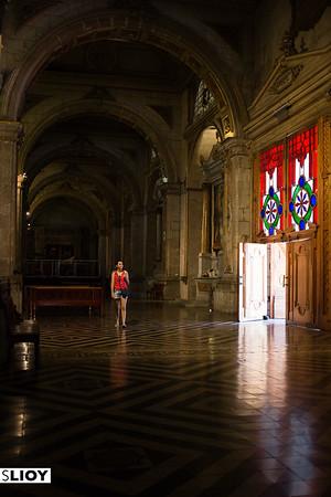 Hallway inside the Santiago Metropolitan Cathedral, off the city's Plaza del Armas.