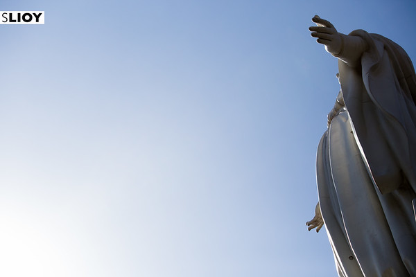 Virgin Mary Statue above the Sanctuary of the Immaculate Conception in Santiago, Chile.