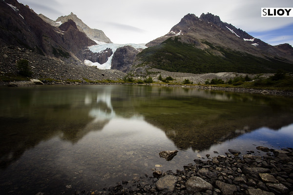 Small lake near Perros camp on the Torres del Paine Q route in Chilean Patagonia.