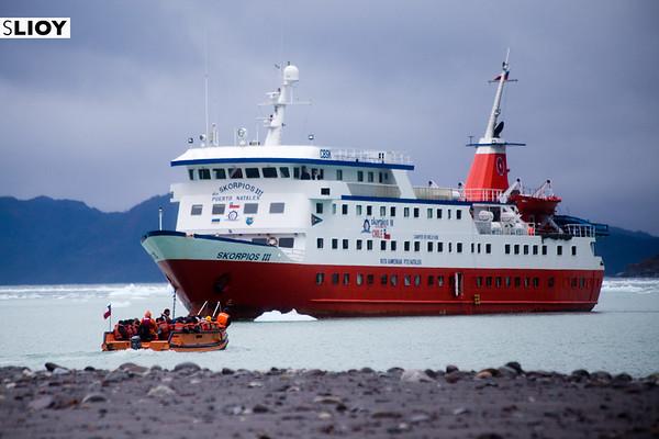 Cruceros Skorpios cruise ship in Chilean Patagonia's Bernardo O'Higgins National Park.