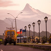 Corcovado volcano towers over the main street through the town of Chaiten in Chilean Patagonia.