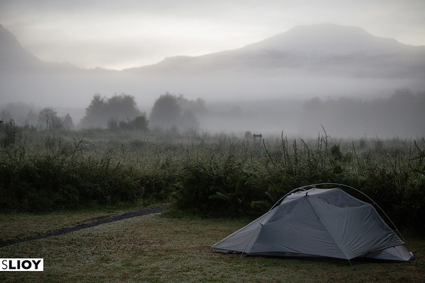 Camping on a foggy morning in the El Volcan campsite of Parque Pumalin, in Chilean Patagonia.