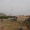 Kite flying under Cartagena's city wall