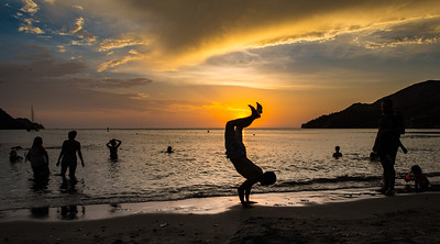 Sunset beach games at Taganga, Colombia