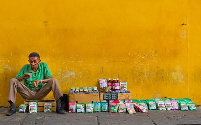 Street seller in Cartagena, Colombia