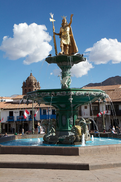Plaza de Armas, Cusco, Peru, fountain<br /> Copyright 2012, Tom Farmer