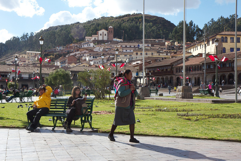 Plaza de Armas, Cusco, Peru, street scene<br /> Copyright 2012, Tom Farmer