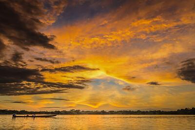 Amazon sunset at Cuyabeno, Ecuador