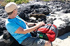Susie Watching Sea Lion Pup, Chinese Hat Volcano Beach, Galapagos Islands