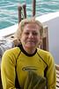 Carole Ready to Snorkel, Galapagos islands