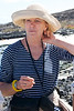 Sheila on Chinese Hat Volcano Beach, Galapagos islands