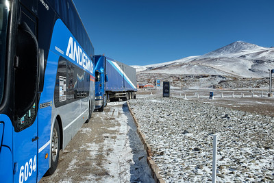 This is the end of our forward progress - the Chilean border was closed for the next three days! Why did our bus go to the border (seen in the background) when it was closed - who knows? We  passengers were not told anything intelligible.