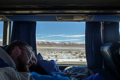 Overland to, but not across, the Chilean border