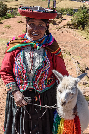 Woman and Llama in Traditional Dress