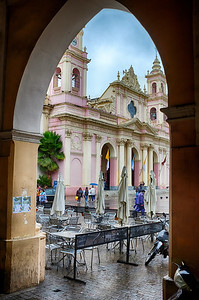 Salta's beautiful pink cathedral