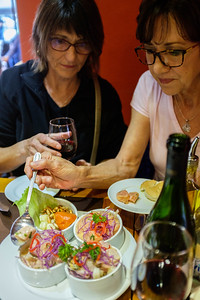 Pat and Jeannine know what to do. Our first Ceviche at Restaurant Peruano.